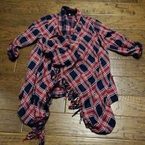 Frayed edge lightweight flannel cardigan NEW-S